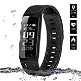 Fitness Tracker, ELEGANT Activity Tracker IP67 Waterproof Smartwatch Wristband Sport Bracelet Pedometer with Heart Rate Monitor / Sleep Monitor / Touch Screen /GPS Tracking / Calorie Counter / Alarms / Call SMS Whatsapp Vibration / Camera Remote Control for Android iOS Smartphone iPhone X 8 7 6s 6 Plus Samsung Galaxy S8 S6 Edge Huawei P9 etc.