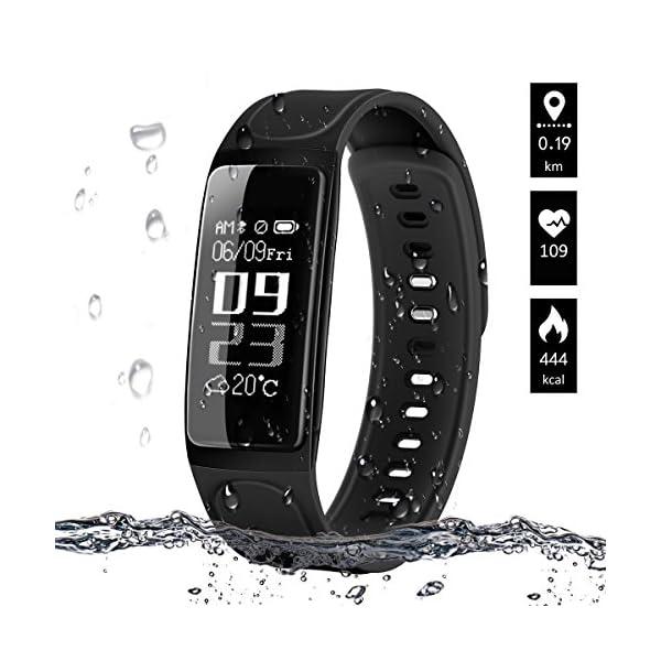 Pulsera de Actividad, ELEGIANT Reloj Inteligente Bluetooth 4.0 Monitor de Hombre Mujer IP67 Brazalete de OLED Pantalla Análisis de Calorías y Dormir Compatible para Android iOS Negro 1