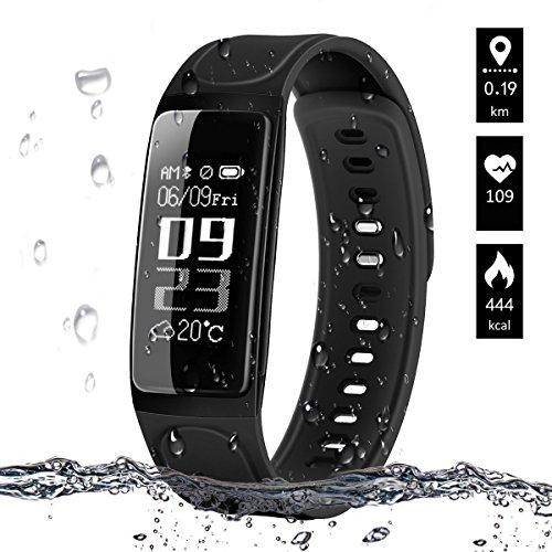 Activity Tracker, ELEGIANT Fitness Tracker Bluetooth IP65 con per iphone Xs max XR x 8s iPad Samsung S9 S8+ Huawei P20 HTC LG iOS