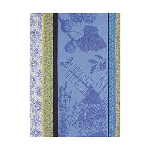 Le Jacquard Francais Torchon Terre de Provence Coton Bleu lavande Rectangulaire 60 x 80 cm