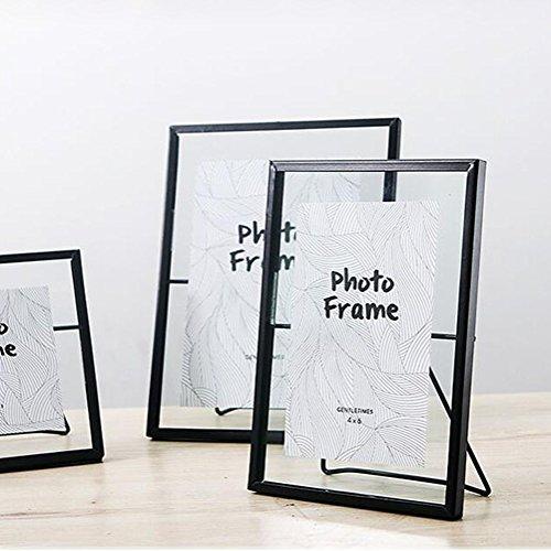 DWCC 3 Stück Europäischer Stil Schwarzer Glas Bilderrahmen Metall Bilderrahmen Kreative Einfachheit Halterung Desktop Swing Tisch Schicke Verzierung Hochzeitstag Geschenk, A