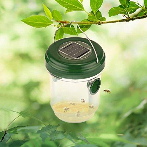 TiooDre Wespenfalle Fliegenfalle Wasserdicht Leben Outdoor Bienenenfalle Effektive und wiederverwendbare Fliegenfalle mit solarbetriebenen UV-LED-Lichtfallen für Waspen,Fliegen und mehr