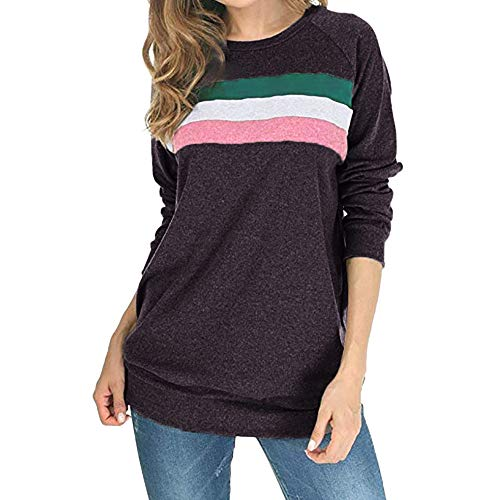 ZIYOU Damen Rundhals Streetwear Long Sleeve T-Shirt Sweatshirt Oberteile Herbst Beiläufige Larngarmshirts Pullis Pullover (EU-36 / CN-M,Dunkelgrau)