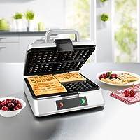 GOURMETmaxx Waffle Iron per 4 cialde belghe   Macchina per cialde con rivestimento antiaderente per 4 cialde belghe  pulizia molto facile  1200 Watt  argento