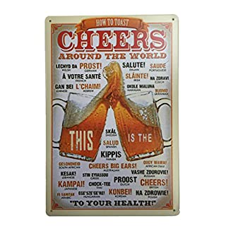 Cheers Around The World Tin Sign Metal Novelty Retro Vintage Wall Plaque 20x30cm Decorative Sign - Ideal for Pub Bar Office Home Bedroom Dining Room Kitchen - Cool Classic Gift Shabby Chic