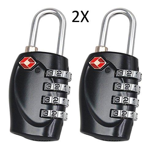 Cestvel 2 Stück TSA Reiseschloss/Gepäckschloss 4 Nummern Kombination Code Sicherheit Vorhängeschloss für Reisekoffer Gepäck (Schwarz)