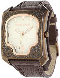 Police P14252JSQR-07 - Reloj para hombres, correa de cuero color marrón