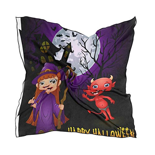 Voxpkrs Womens Happy Halloween Silk Gefühl Square Scarf Satin Halstücher Head Hair Wraps