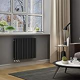 ELEGANT Design Paneelheizkörper Röhren 600x767mm Anthrazit Doppellagig Badezimmer/Wohnraum Horizontal Heizkörper Seitenanschluss Badheizkörper Radiator