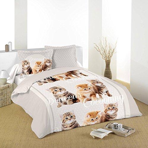 Lovely Casa Gato Funda de edredón 2Fundas 63x 63cm, algodón, Gris, 240x 220cm