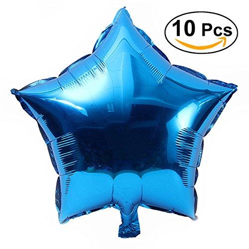 NUOLUX Sterne-Folie Ballon Party Luftballons für Party Dekoration, 18 Zoll, 10pcs Blow Up Folie