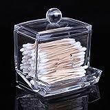 Saguaro® Contenitore in acrilico trasparente, per dischetti o batuffoli di cotone o cotton fioc, organizer per trucco o prodotti di bellezza