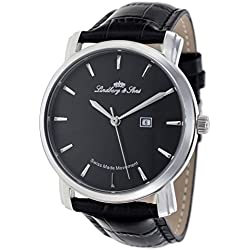 Lindberg & Sons Men's Quartz Watch Swiss Made Movement with Black Dial Analogue Display and Black Leather Strap LS15SA2