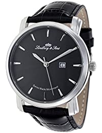 Lindberg&Sons Swiss Made Movement Collection LS15SA2 - Reloj para hombres, correa de cuero color negro