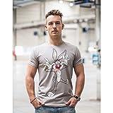 Looney Tunes Bugs Bunny La camiseta de los hombres, 100% algodón (Medium, gris)