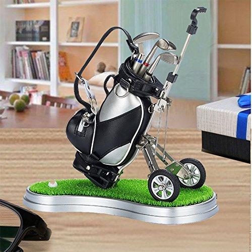 crestgolf PU Leder SCHWARZ Golf Cart, Golf Stifthalter mit 3Golf Gear geformte Stifte/Kunststoff Gras Matte (eine Vielzahl von Farben für Ihre Referenz,), 1Stück