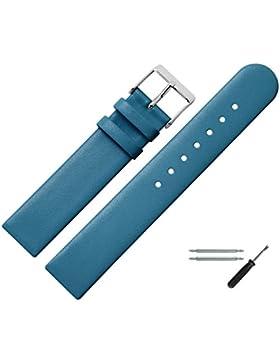 Uhrenarmband 20 mm Leder blau glatt - inkl. Federstege & Werkzeug - Ersatzband für Uhren - Uhrband mit Schlaufe...