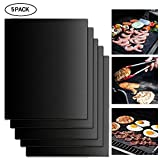 Pawaca 5 Pack Multifunktions Grillmatten, Wiederverwendbare Non Stick BBQ Backmatte, Gesunde BBQ Zubehör für Gas, Kohle, Elektrogrill und Vieles Mehr - 40x33 cm