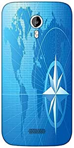 Snoogg blue compass vector background Designer Protective Back Case Cover For Micromax A116