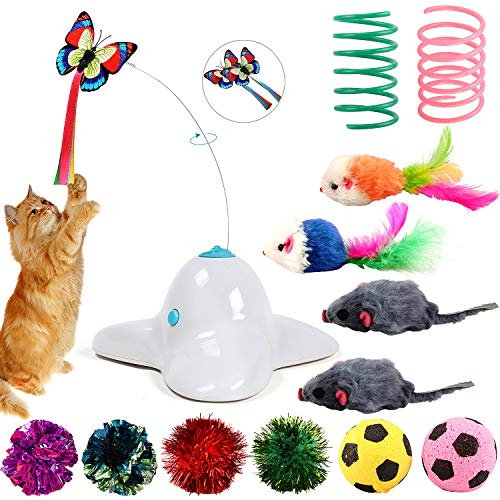 Tacobear Katzenspielzeug Elektrisch Schmetterling Katzenspielzeug Beschaftigung Interaktives Katze Spielzeug mit Maus Katzenspielzeug Katzen Spielball Springfeder