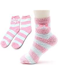 Women's Striped Socks 3 Pack Pink Fluffy Fuzzy Soft Fleece Thermal Socks for House Slipper Bed Cosy Sock