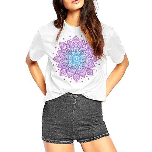 Fashionkilla - Camiseta Oversized Modelo Mandala para Mujer (XL) (Blanco)