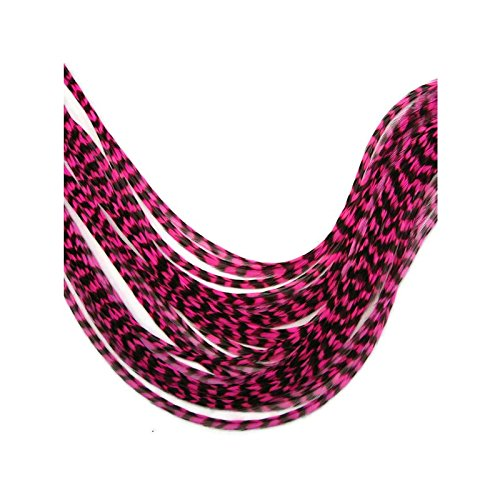 beaute design - 1 plume naturelle grizzly magenta extension de cheveux 24 cm à 30 cm