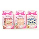 Oytra - Set Of 3 - Nail Art Kit For Kids/Adults Girls (8 Years To 20 Years) With 12 Artificial Fancy Nails And Nail Solution (Random Cute Nail Designs)