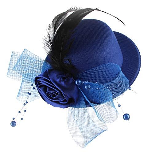 DEMU Mädchen Kinder Faszinator Federhut Haarklammer Minihut Zylinder Cosplay Party Theater Blau