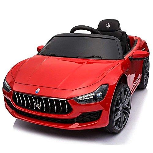 BAKAJI Auto Elettrica per Bambini Macchina Maserati Ghibli Motore 12V Fari Led Funzionanti Luci Suoni Lettore MP3 Cavo AUX Telecomando Controllo a Distanza Dimensione 108 x 56 x 44 cm (Rosso)