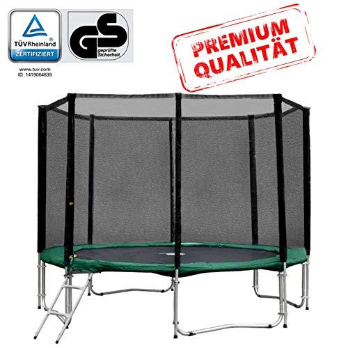 Baunsal GmbH & Co.KG Gartentrampolin Trampolin 305 bis 310 cm in grün mit Sicherheitsnetz und Einstiegsleiter