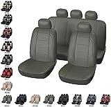 Coprisedili Ecopelle per Auto Universali Grigio | Copri Sedili Eco Pelle Universale per Anteriori e Posteriori | Accessori Automobile Interni | Set Completo di 9