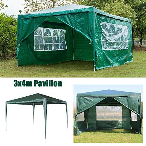 Huini 3x4m Pavillon (mit 4 Seitenwänden) Festzelt Markise komplett wasserdicht für Garten Hochzeit Event Camping BBQ einfache Installation