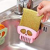 TAOtTAO Double Suction Cup Sink Sponge Holder Kitchen Bathroom Skull Drain Storage Rack (Pink)