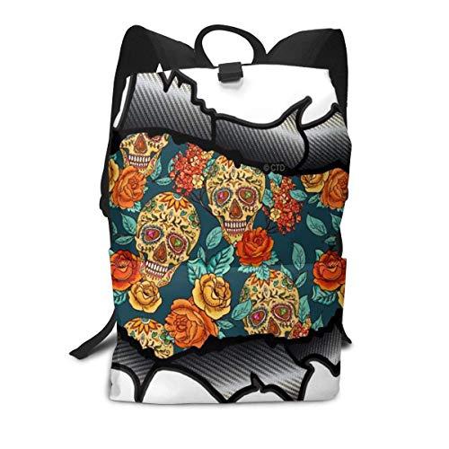 Blumen-und Schädel-Rucksack-Mitte für Kinderjugendliche-Schulreisetasche