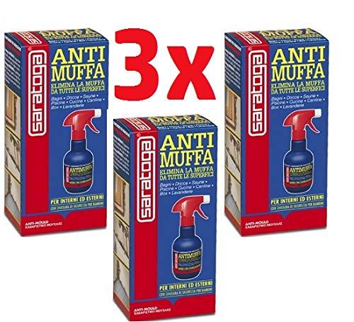 ANTIMUFFA Spray Pz3 x 250ml per interni ed Esterni Elimina Muffe, Alghe, Muschi, licheni e deterge