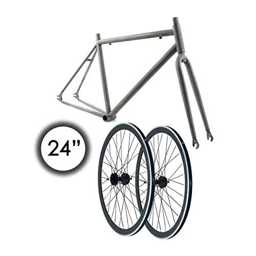 RIDEWILL BIKE Kit Telaio 24'' Scatto Fisso Acciaio Grezzo + Ruote 40mm Nero (Scatto Fisso) / Fixed Gear 24'' frameset Raw Steel + wheelset 40mm Black (Fixed Frames)