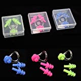 1Pcs Waterproof Soft Silicone Swimming Nose Clip & Mushroom Ear Plug Set In Case