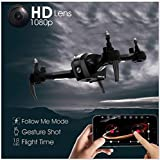 booming FPV RC Drohne Quadcopter Flugzeugmodell Flugzeug Hubschrauber 1080 P 5MP WiFi FPV Höhenstand Geste Selfie Intelligent Follow Me RC Drohne (Schwarz)