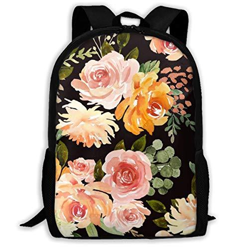 8 Herbst Blossom Florals Black_2069 Classic Rucksack Reisen Laptop Rucksack, College School Student Rucksack für Männer und Frauen
