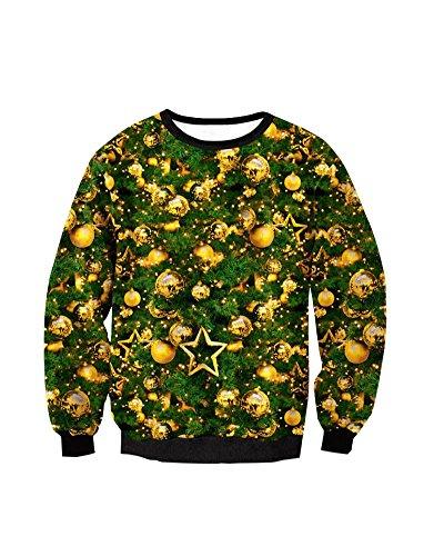Donna 3D Digital Stampato Santa Natale Sweatshirt Girocollo Ugly Inverno Felpa Con Grandi Tasche Stile 7