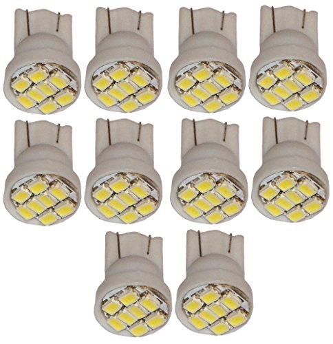 Aerzetix: 10x ampoule T10 W5W 12V 8LED SMD blanc effet xénon veilleuses éclairage intérieur seuils de porte plafonnier pieds lecteur de carte coffre compartiment moteur plaque d'immatriculation