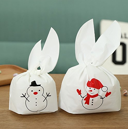 Bluelover Christmas 50Pcs Cute Easter Bunny Cookies Bag Hochzeits-Dekoration Snow Man Ear Plastic Candy Bag