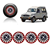 #1: Auto Pearl - Premium Quality Car Full Wheel Cover Caps Red and Black 15 Inches Press Type Fitting For - Maruti Suzuki Gypsy