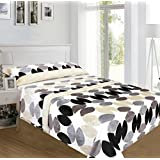 ForenTex - Juegos de sábanas, (UL-4017), Circulos Dorado, cama 135 cm, con tacto seda de sedalina, nacarina, de 250 gr/m2, ultra suaves, exclusivas.