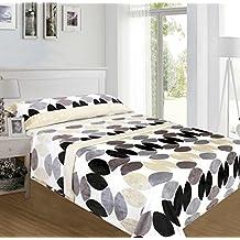ForenTex - Juegos de sábanas, (UX-4017), Circulos Dorado, cama 150 cm, con tacto seda de sedalina, nacarina, de 250 gr/m2, ultra suaves, exclusivas.