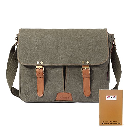 New design stylish Retro vintage mens canvas leather messenger bag Schwarz Army Green