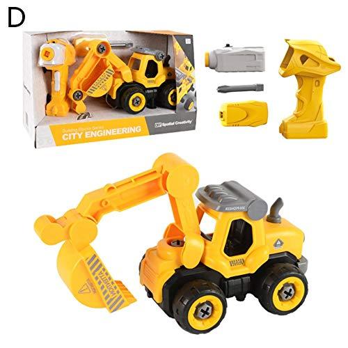sanguiner BAU Engineering Spielzeugauto DIY Montage Auto 2,4G drahtlose Fernbedienung mit Sound-Effekt Engineering Van Spielzeug-Set für Kinder Jungen Mädchen (Mädchen-bau-spielzeug)