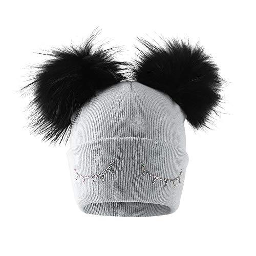 Yogogo Black Friday FR Cyber Monday FR,Bébé garçon Filles Hiver Couleur Unie Bonnet Tricot Bean Hairball Chapeau Chaud