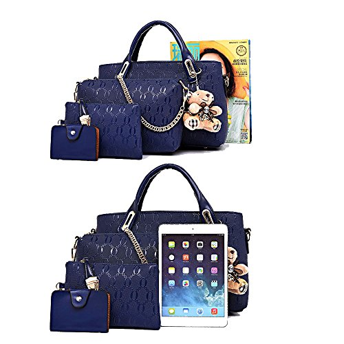 ZUNIYAMAMA Handtaschen zu Frauen Art und Weise PU Leder 4 PC Handtaschen + Schulter Tasche + Handtasche + Schlüsselanhänger Satz PINK rot1
